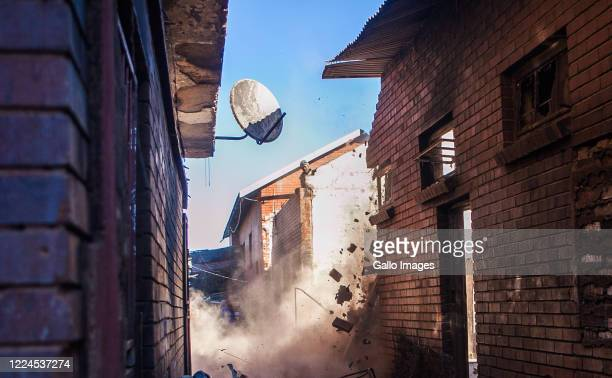 A general view of the aftermath from a fire accidente where approximately 100 shacks were destroyed on July 03 2020 in Alexandra South Africa It is...