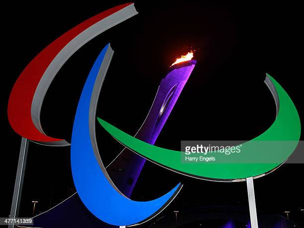 A general view of the Agitos in front of the Olympic flame after it was lit at the end of the Opening Ceremony of the Sochi 2014 Paralympic Winter...