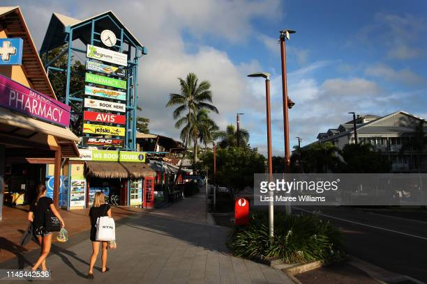 A general view of the Airlie shopping district as seen on April 27 2019 in Airlie Beach Australia The coastal town of Airlie Beach has a population...