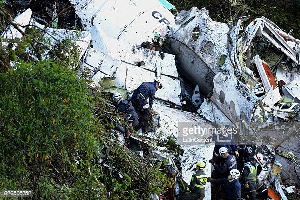 A general view of the airplane crash in the Colombian area of Antioquia where a BritishAerospace BAE Avro with players of the Brazilian team...