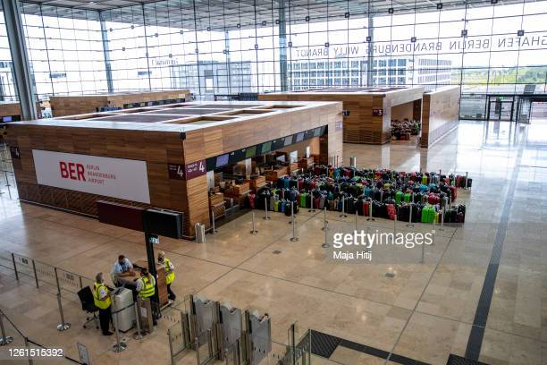 General view of the airport terminal during a trial run of the baggage system at Berlin Brandenburg Airport ahead of the new airport's opening...
