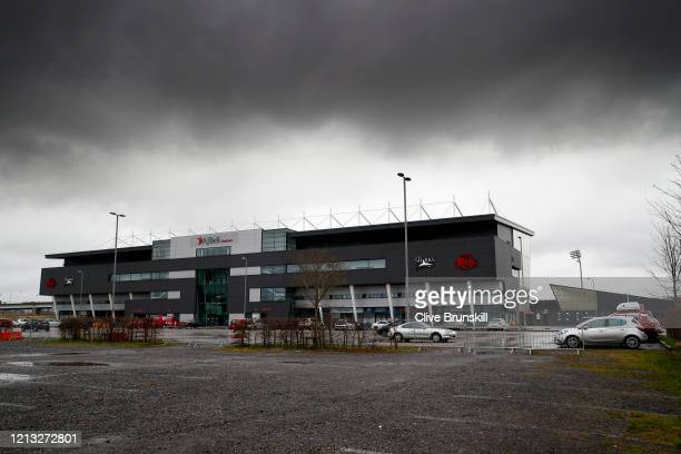 General view of the AJ Bell Stadium, home to the Sale Sharks and the Salford Reds photographed on March 18, 2020 in Eccles, Manchester England.