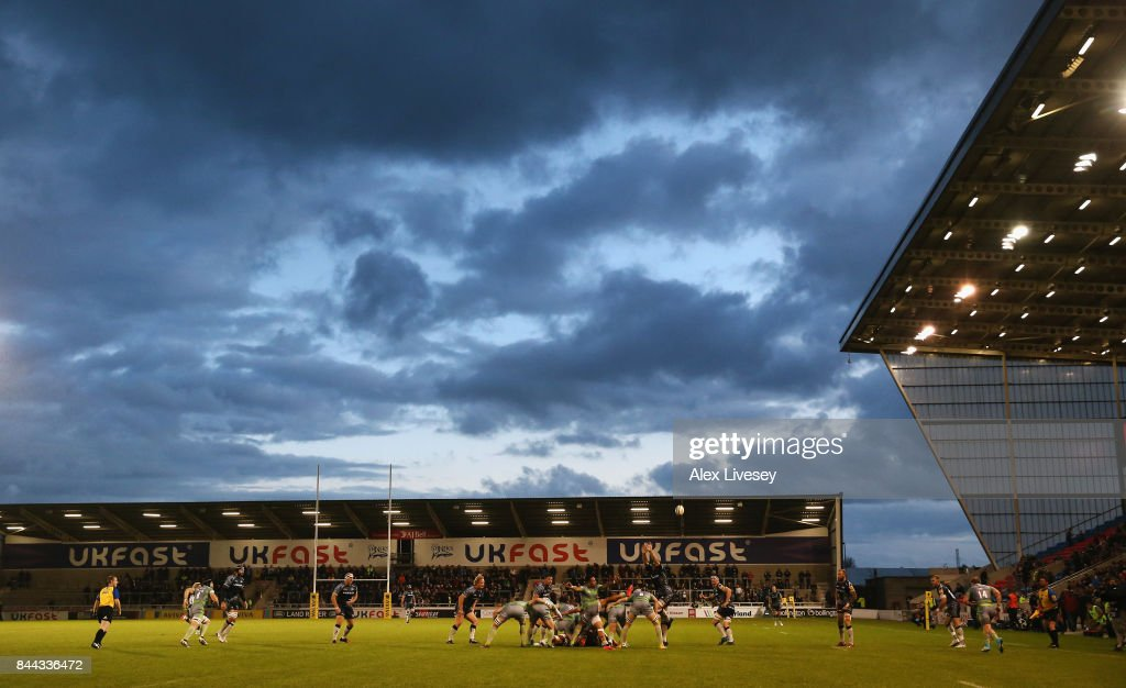 A general view of the AJ Bell Stadium is seen during the Aviva Premiership match between Sale Sharks and Newcastle Falcons at AJ Bell Stadium on September 8, 2017 in Salford, England.