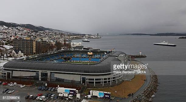 A general view of the Aker Stadion prior to the UEFA Europa League Round of 32 second leg match between Molde and Sevilla at Aker Stadion on February...
