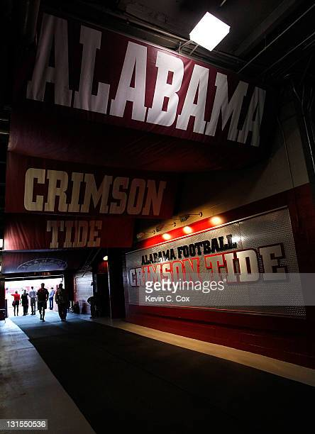 A general view of the Alabama Crimson Tide tunnel prior to the game against the LSU Tigers at BryantDenny Stadium on November 5 2011 in Tuscaloosa...