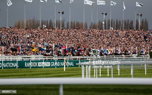 General View of the Alder Hey Childen's Charity Handicap Hurdle as Elegant racegoers attend Ladies Day at The 2017 Randox Health Grand National...