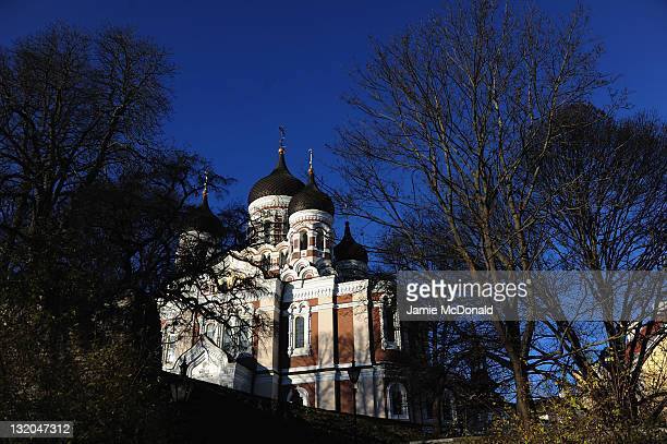 A general view of the Alexander Nevsky Cathedral an orthodox cathedral in the Tallinn Old Town Estonia It was built to a design by Mikhail...