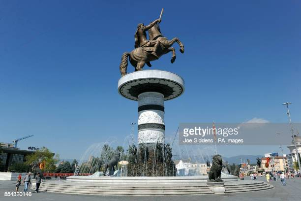 General view of the Alexander the Great fountain in Macedonia Square Skopje Macedonia