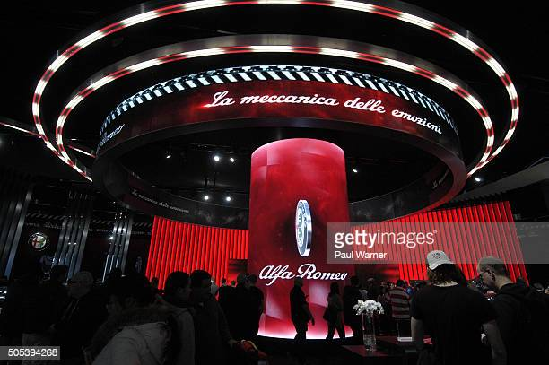 General view of the Alfa Romeo exhibit on the opening day of the 2016 North American International Auto Show at Cobo Hall on January 16, 2016 in...