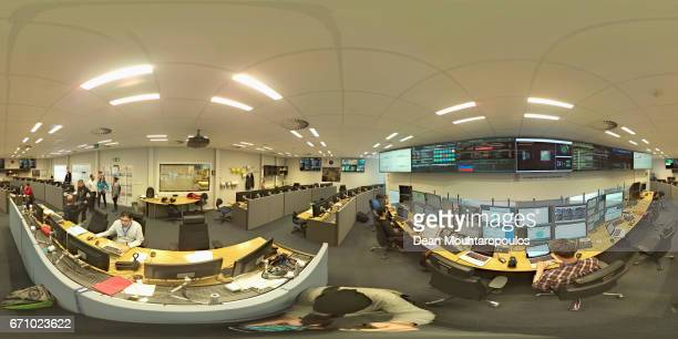 A general view of the ALICE Control Room with staff monitoring the screens during a behind the scenes tour at CERN the World's Largest Particle...