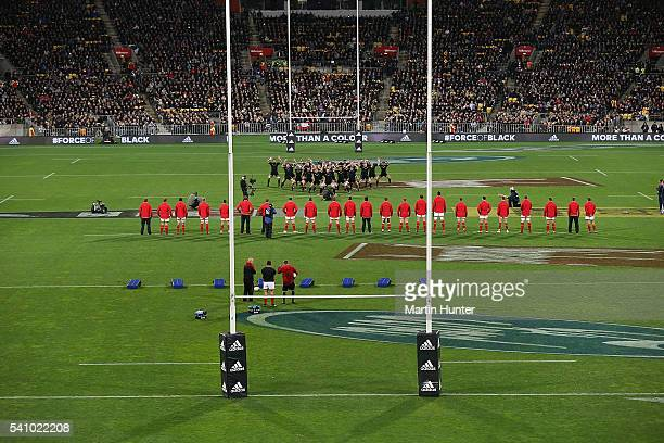 General view of the All Black haka prior to the start of the International Test match between the New Zealand All Blacks and Wales at Westpac Stadium...