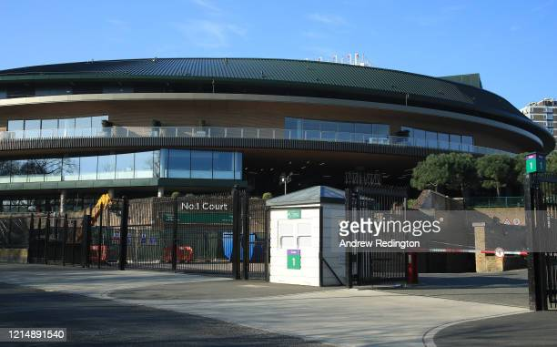 A general view of The All England Lawn Tennis and Croquet Club best known as the venue for the Wimbledon Championships on March 26 2020 in London...