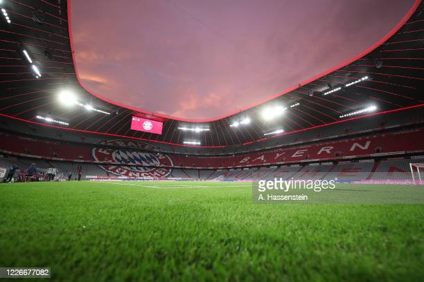 A general view of the Allianz Arena after the Bundesliga match between FC Bayern Muenchen and Eintracht Frankfurt at Allianz Arena on May 23 2020 in...