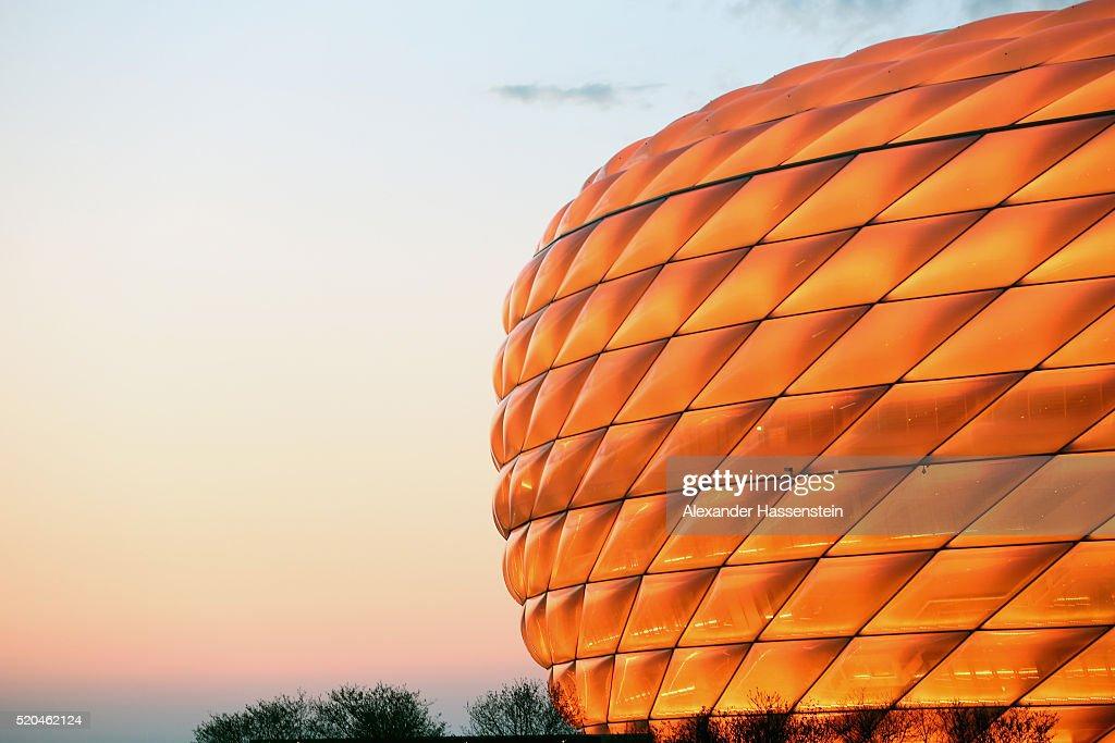 Allianz Arena - Illumination Tests : News Photo
