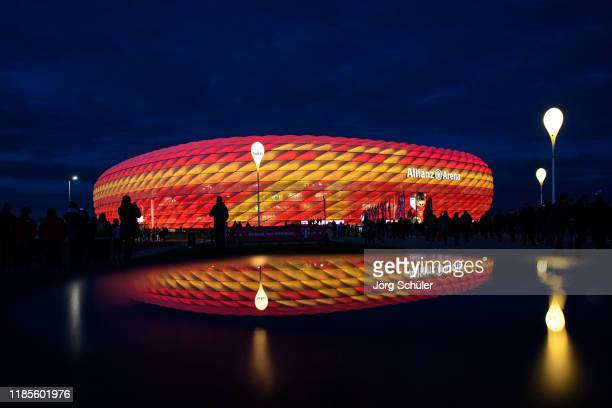 General view of the Allianz Arena during twilight prior the Bundesliga match between FC Bayern Muenchen and Bayer 04 Leverkusen at Allianz Arena on...