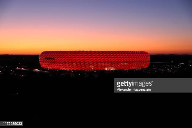 General view of the Allianz Arena prior to the UEFA Champions League group B match between Bayern Muenchen and Crvena Zvezda at Allianz Arena on...