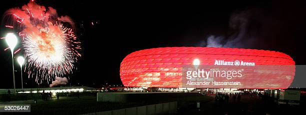 A general view of the Allianz Arena with fireworks during the opening game of the Allianz Arena between Bayern Munich and German Football National...