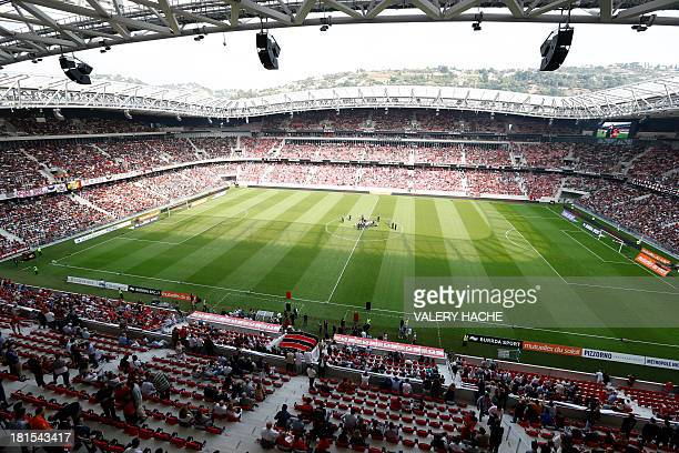 General view of the 'Allianz Riviera' stadium taken during its inauguration ceremony held before the French L1 football match Nice vs Valenciennes on...