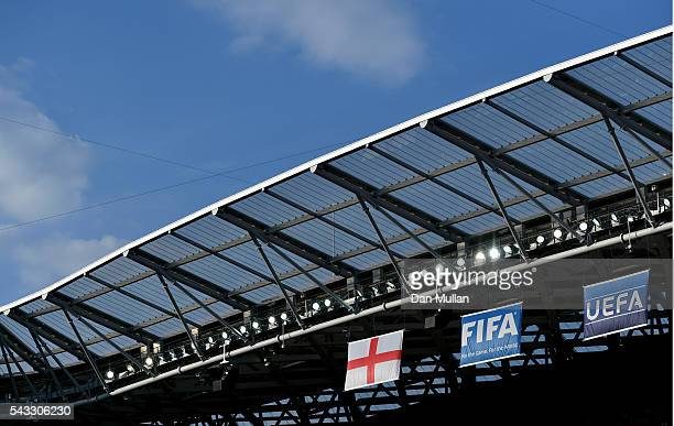 General view of the Allianz Riviera Stadium where the England Flag can be seen prior to the UEFA EURO 2016 round of 16 match between England and...