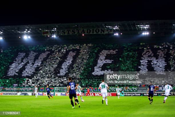 A general view of the Allianz Stadion during the UEFA Europa League Round of 32 First Leg match between SK Rapid Wien and FC Internazionale at...