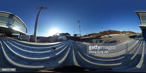 A general view of the Alpensia Biathlon Centre venue for the PyeongChang 2018 Winter Olympic Games on October 30 2017 in Pyeongchanggun South Korea