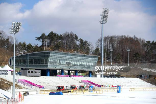 A general view of the Alpensia NordicCombined Centre on February 14 2017 in Pyeongchanggun South Korea