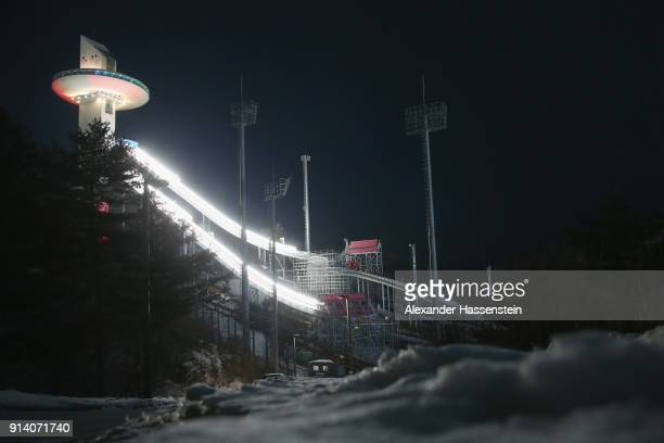 General view of the Alpensia Ski Jumping Center with the the large hill jumping tower during previews ahead of the PyeongChang 2018 Winter Olympic...