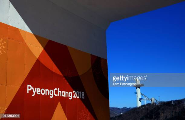 A general view of the Alpensia Ski Jumping Centre ahead of the PyeongChang 2018 Winter Olympic Games on February 5 2018 in Pyeongchanggun South Korea