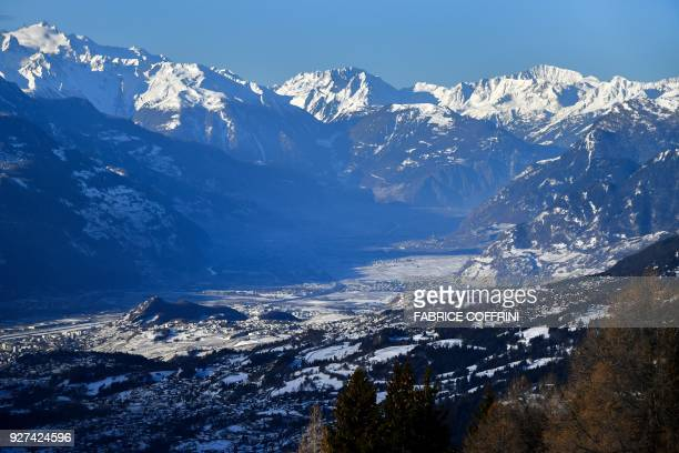 General view of the Alps on March 4 2018 from CransMontana above the Rhone valley in the Swiss canton of Valais location of Sion a city of some 34000...