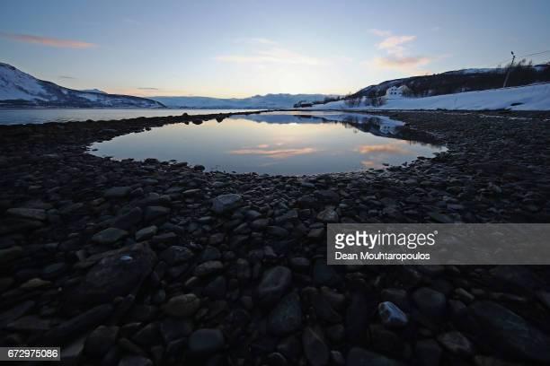 A general view of the Altafjord near Langfjordbotn near inAlta Kommune on March 29 2017 in Finnmark Norway