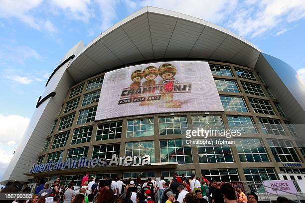 General view of the American Airlines Arena, home of the NBA team the Miami Heat, prior to a game against the Washington Wizards on November 3, 2013...
