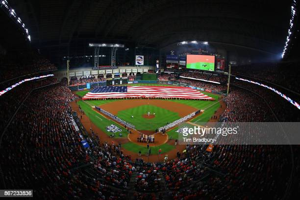 A general view of the American flag as the national anthem is performed before game three of the 2017 World Series between the Houston Astros and the...