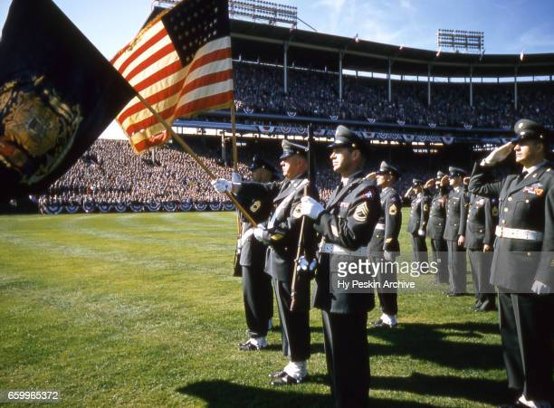 General view of the American flag as the National Anthem is played before a game during the 1957 World Series with the New York Yankees and Milwaukee...