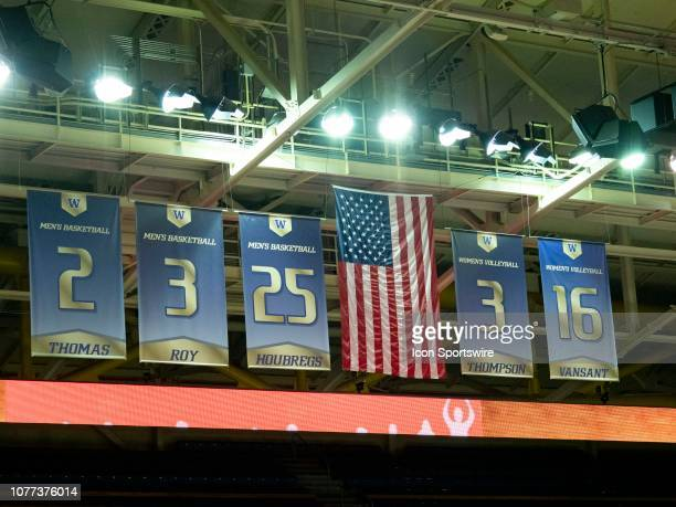 A general view of the American flag before a college basketball game between the Washington Huskies against the Cal State Fullerton Titans on January...