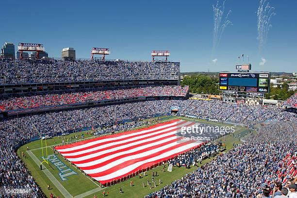 General view of the American flag on the field before the NFL season opener between the Tennessee Titans and Oakland Raiders at LP Field on September...