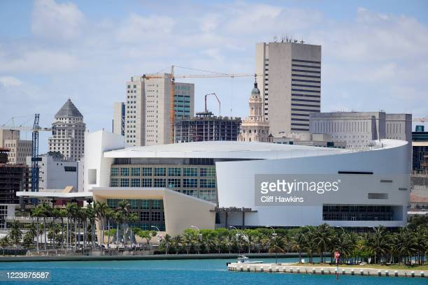 General view of the AmericanAirlines Arena is seen on May 08, 2020 in Miami Florida. According to reports the Miami Heat are looking to possibly...