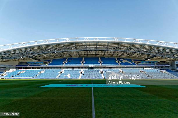 General view of the Amex stadium during the Premier League match between Brighton and Hove Albion and Swansea City and at the Amex Stadium on...