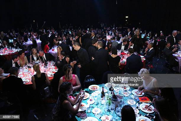 A general view of the amfAR Milano 2014 Gala Dinner and Auction as part of Milan Fashion Week Womenswear Spring/Summer 2015 on September 20 2014 in...