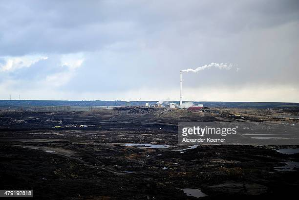 General view of the Amsdorf open-pit lignite coal mine on March 30, 2015 in Amsdorf, Germany. Amsdorf is located in eastern Germany, where coal...