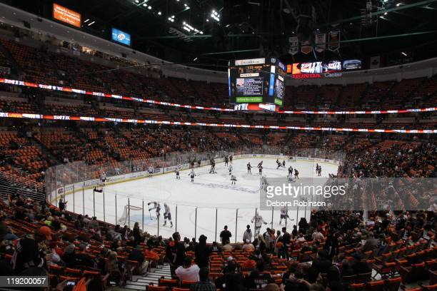 General view of the Anaheim Ducks and the Nashville Predators warming up before Game One of the Western Conference Quarterfinals during the 2011 NHL...