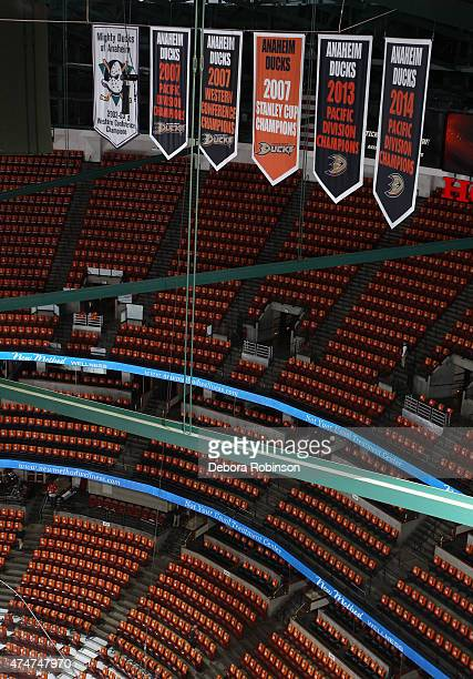 A general view of the Anaheim Ducks banners before the game against the Chicago Blackhawks in Game Five of the Western Conference Finals during the...