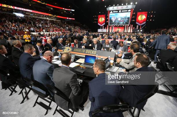 A general view of the Anaheim Ducks draft table is seen during Round One of the 2017 NHL Draft at United Center on June 23 2017 in Chicago Illinois