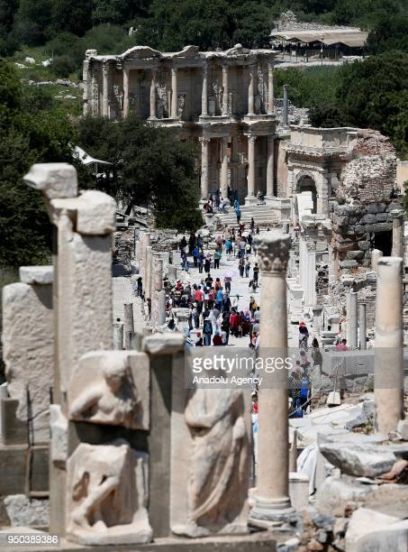A general view of the Ancient Ephesus City Ruins which was used as a settlement for 9000 years and take place in World Heritage List of UNESCO World...