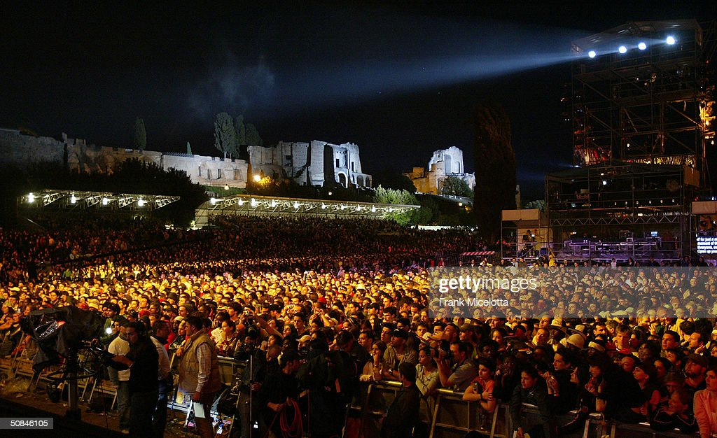 General view of the ancient Palatine Palace overlooking the 'We are the Future' all-star humanitarian concert May 16, 2004 at Circus Maximus in Rome, Italy. The show will be is being broadcast globally on MTV and will raise money to open child centers in the most war torn regions of the world.