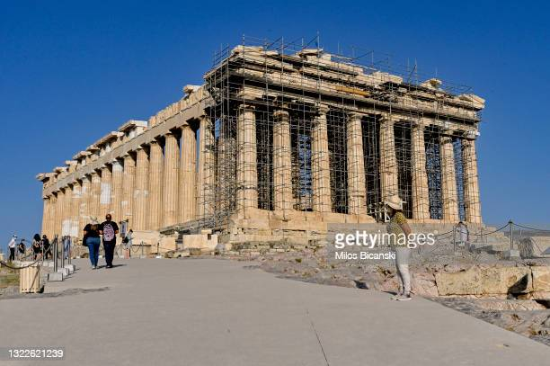General view of the ancient Parthenon temple on the Acropolis hill on June 8, 2021 in Athens, Greece. A 1.5 billion euro restoration project at the...