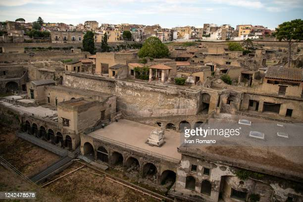 General view of the ancient Roman city of Herculaneum destroyed in 79 AD by the eruption of Vesuvius which also affected Pompeii, on the day of the...