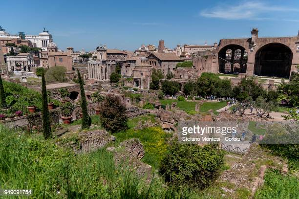 General view of the Ancient Roman Forum on April 20 2018 in Rome Italy Presented to the press the House of Augustus and the House of Livia to promote...
