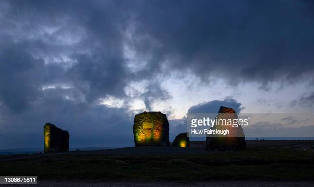 General view of the Aneurin Bevan Memorial Stones which have been illuminated yellow on the National Day of Reflection for the Covid dead, on March...