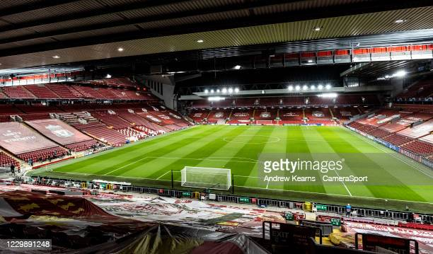 General view of the Anfield stadium from the Kop stand during the UEFA Champions League Group D stage match between Liverpool FC and Ajax Amsterdam...