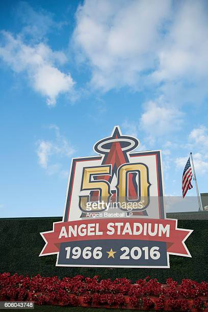 A general view of the Angel Stadium fiftieth anniversary logo in the outfield before the game between the Seattle Mariners and the Los Angeles Angels...